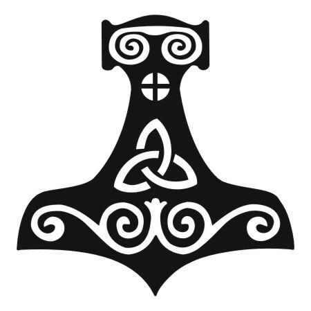 viking mjolnir thor 39 s hammer black vinyl decal by sparrowhawk9