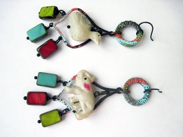 Brave Absurdity. Bright Colorful celluloid toy animal duck elephant czech glass earrings. red green blue white.