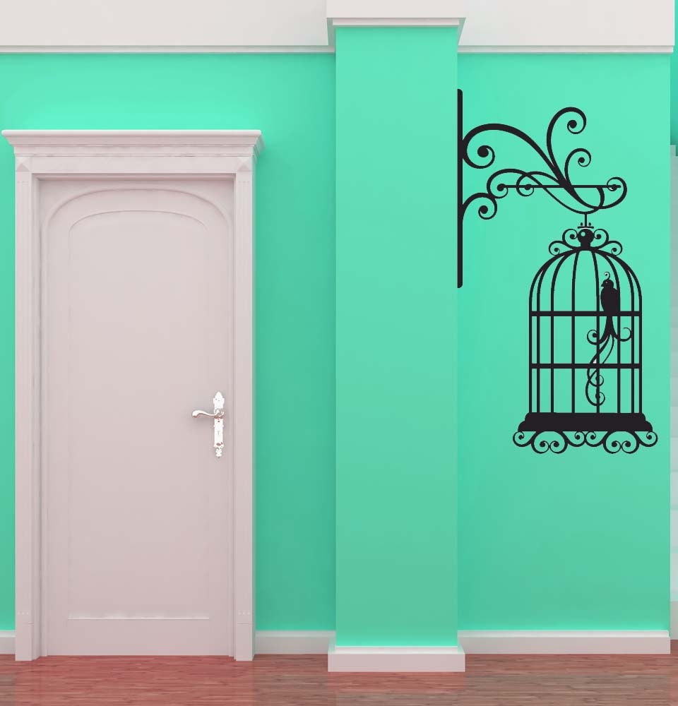 Wrought Iron Hanging Bird Cage 2 Decal by VinylWallAdornments