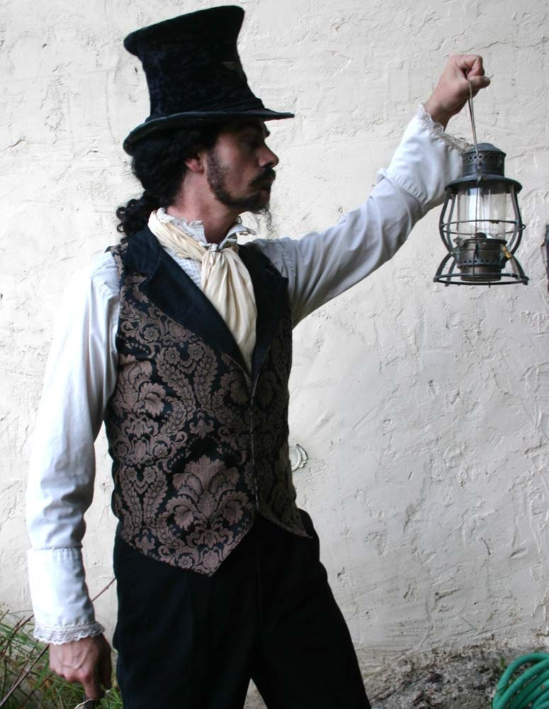 Brown and Black Floral Tapestry and Silk Steampunk Victorian Lapeled Gentlemen's Vest - dashandbag
