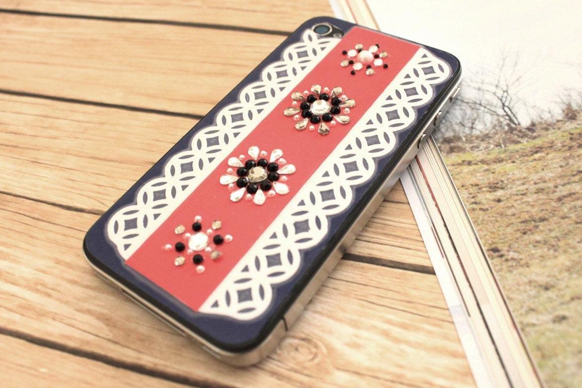 Custom Rhinestones iPhone 4 / 4S vinyl skin with Lace and Jewel Design