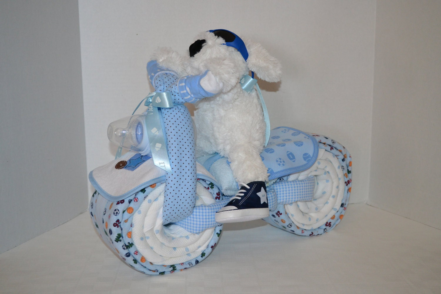 motorcycle bike diaper cake baby shower gift by arizonababycakes