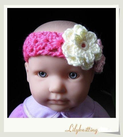 Crochet Headband Pattern For Baby With Flower : PATTERN in PDF Crocheted flower baby headband by LilyKnitting