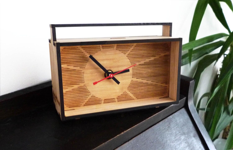 Retro Desk Clock (laser cut bamboo)