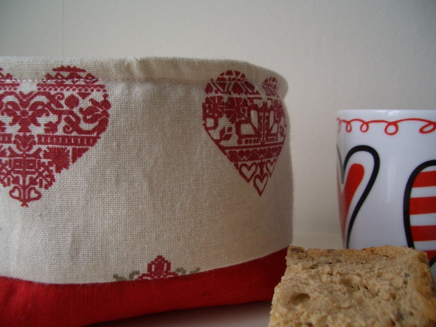 Fabric Tubby for Sharing, Snacking or Storage- Scandinavian Style Hearts
