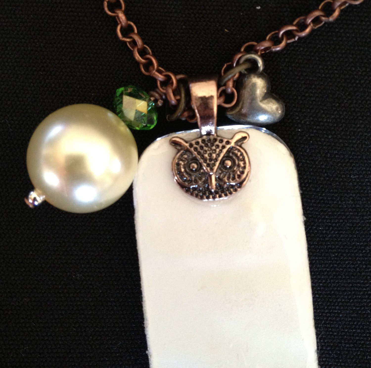 Big eared owl glass tile pendant necklace