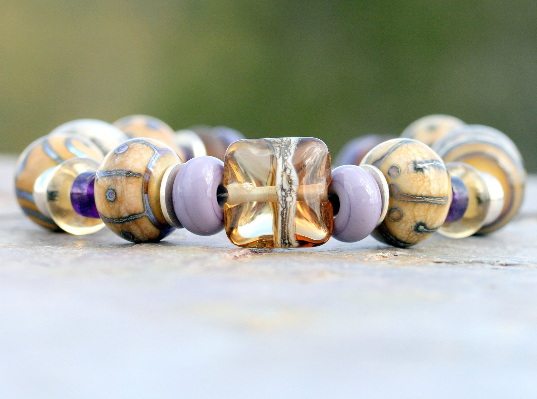 Sandy Details artisan lampwork and sterling silver bracelet
