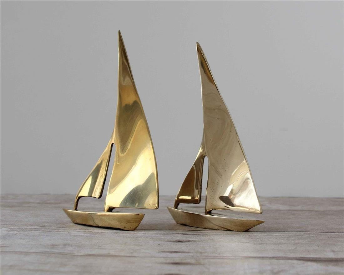 Decorative Brass Sailboats Small Gold By Whateverislovely