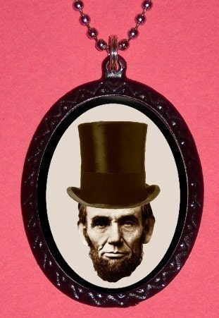 Abraham Lincoln in Top Hat Altered Art Iconic Pendant Necklace Emancipator