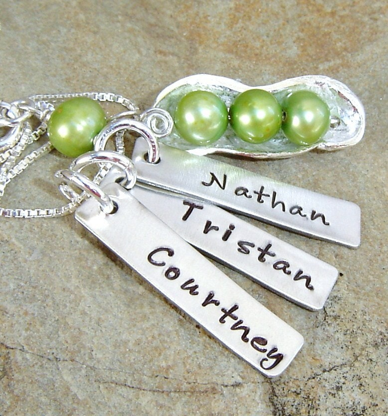 3 Peas In A Pod...green...3 handstamp name tags