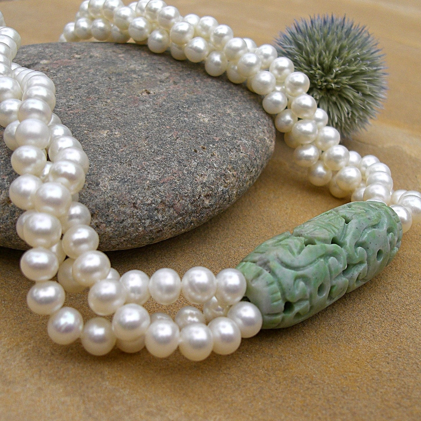 PEARL NECKLACE with CHING HAI JADE focal bead triple strand