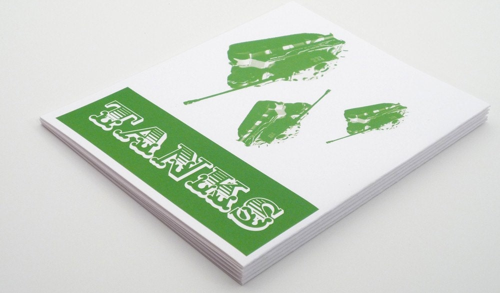 Green Tanks set of 6 thank you cards and envelopes by theRasilisk from etsy.com