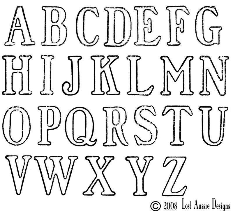 Large stencil alphabet unmounted rubber stamps sale by