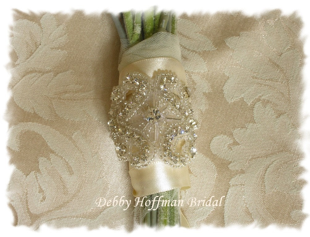 Beaded Rhinestone Bouquet Wrap or Cuff Bracelet No. 1171BW - Made to Order
