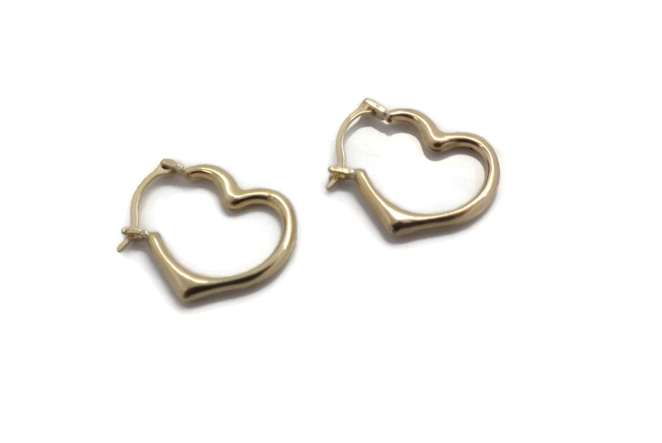 Heart Hoop Earrings Womens Earrings Mothers Day Gold Earrings 9ct Gold Hoops Womens Hoop Earrings Heart Hoop Earrings Gold Earrings