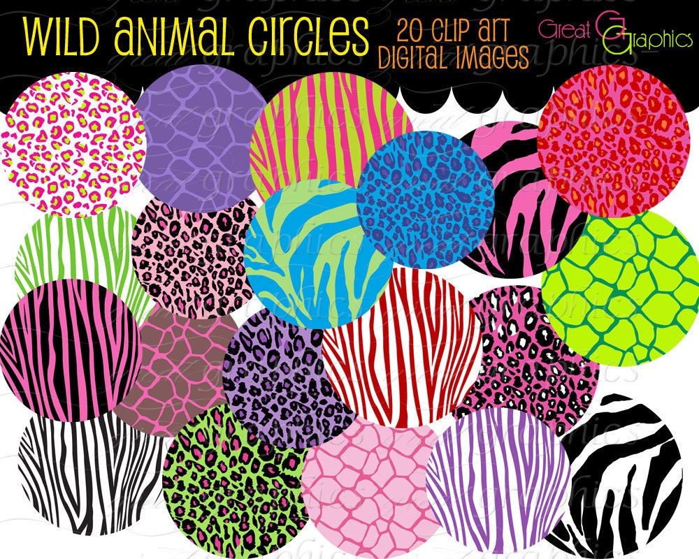 Wild Animal Circle clip art, digital clip art circle tags, set of 20 printable circle tags, zebra giraffe leopard prints