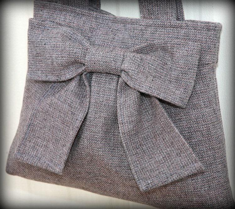 carpet bag, bag, grey, tote, bow