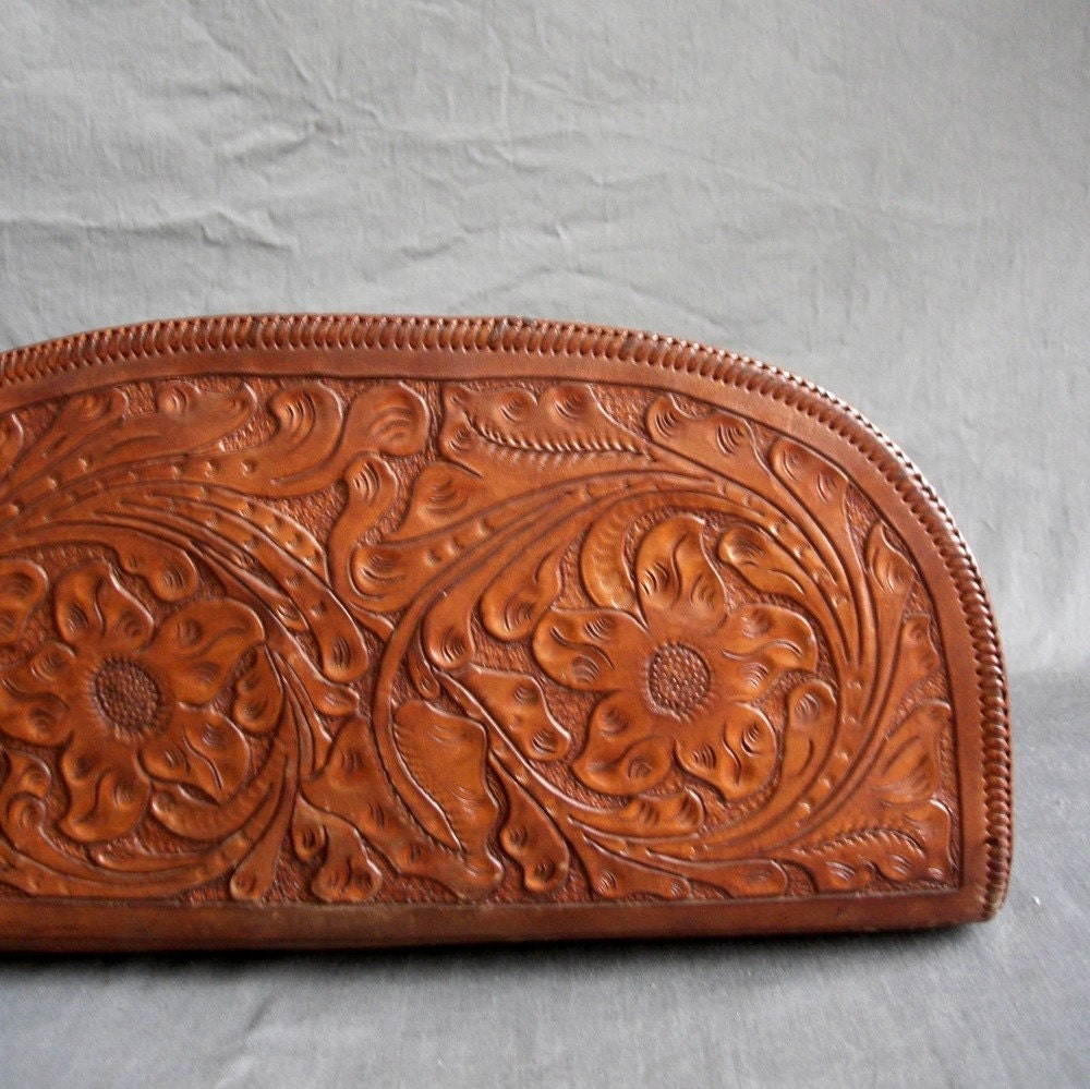 40s Hand Tooled Clutch. Oversize. Floral. Crescent.