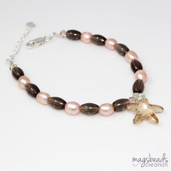 Peach Pearls Beaded Bracelet with Smoky Quartz