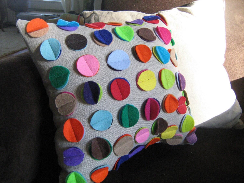 Rainbow Disc Pillow on Oatmeal Linen