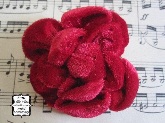 Ruby Red - Velvet цветок - шелк, Дамских, Измененные Couture, волос Цветы, Pin