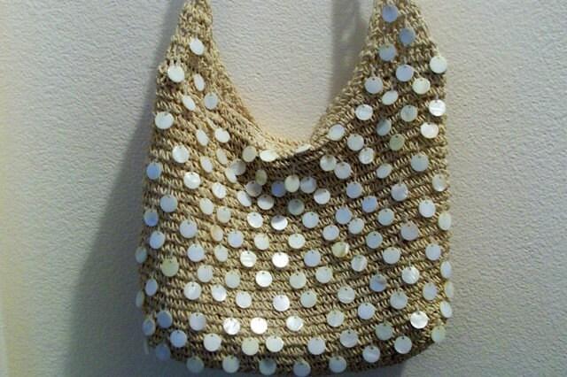 Vintage Pearly Shell CAPPELLI Straw Crochet Toyo Handbag