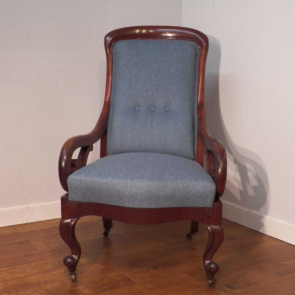 Antique Victorian Mahogany Armchair Re Upholstered in Tweed wool.