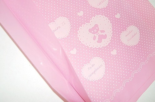 50 Pink bear Opaque Handle Plastic Bags,24cmx29cm