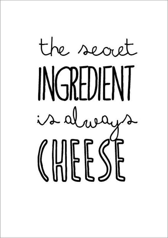 Kitchen art print  The secret ingredient... - cooking quote typographic food poster