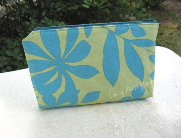 Zipper Pouch Clutch Cosmetic Gadget Case - Lime Green and Turquoise