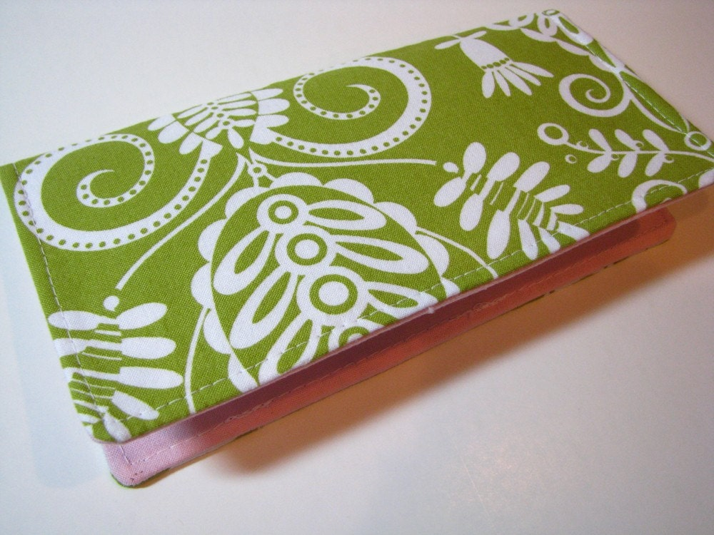 Checkbook cover - Green floral