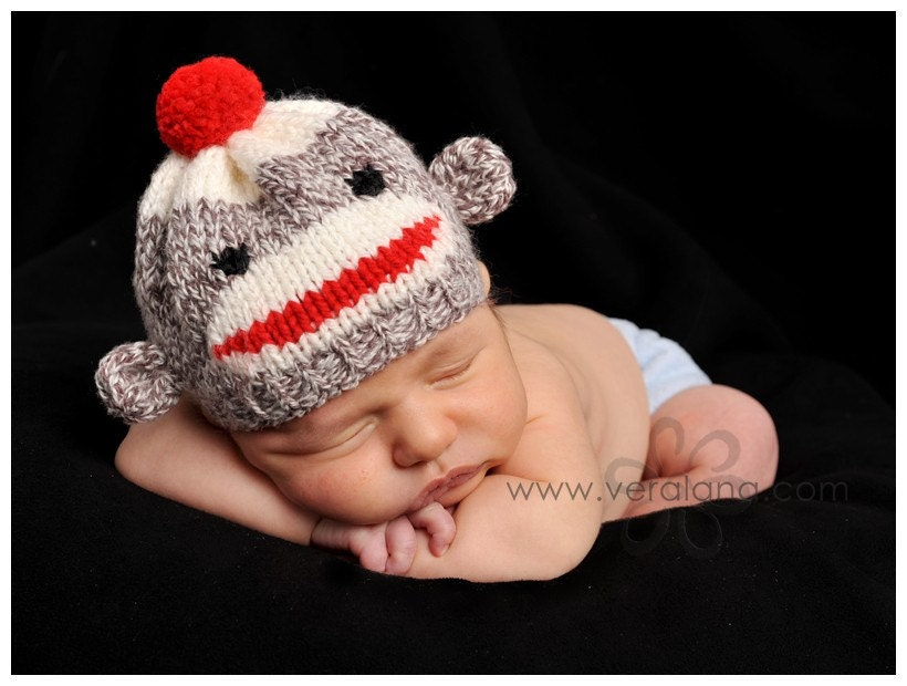 Sock Monkey Hat Knitting Pattern : Sock Monkey Hat for Newborn Baby Custom Knitted by sockmonkeykook
