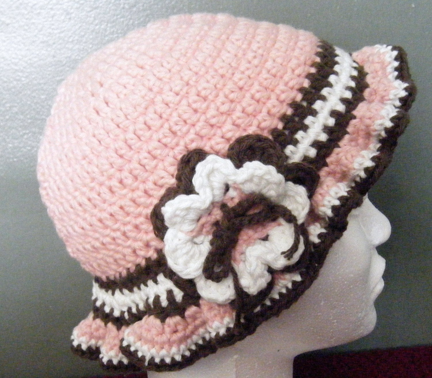 Crochet Girls Hat in Pink, Brown and White