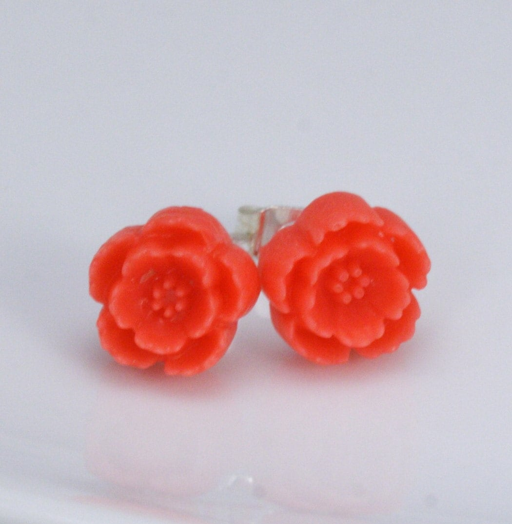 Free Shipping - Miniature Coral Red Post Stud Earrings