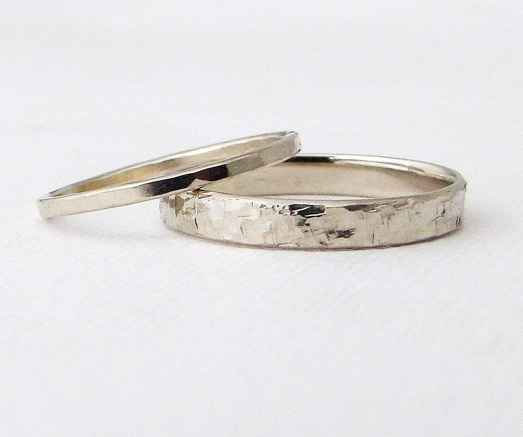 White Gold Wedding Bands Gold Wedding Rings Set Hammered Gold ...