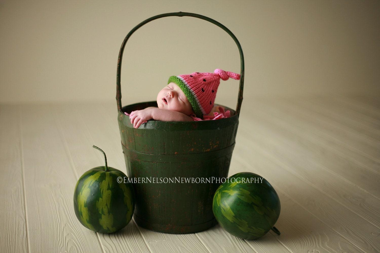 Трикотажные младенческой Hat, новорожденных Hat Арбуз Baby, Вязание Prop Фото, Опрятный Розовый Зеленый, малышей, детей, взрослых Свободно Размеры