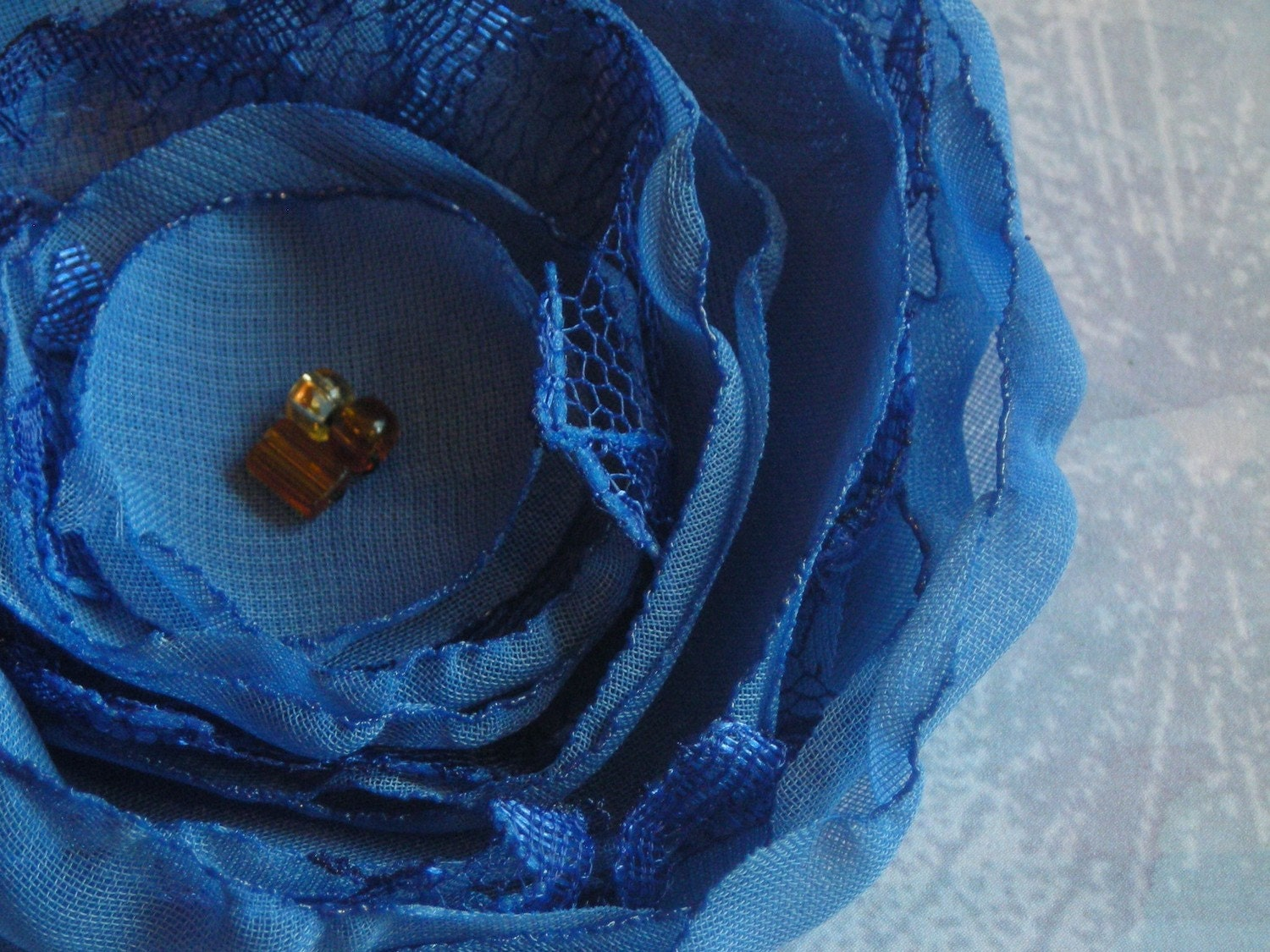 Chiffon and lace flower - blue fabric pin or hair clip