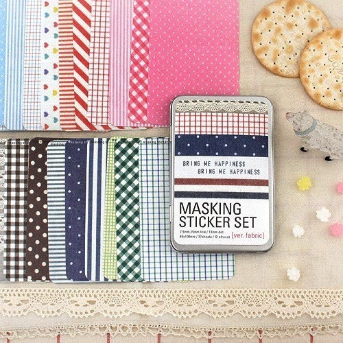 masking sticker - 27sheets fabric style set with tin case