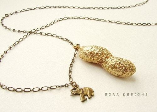 Circus Peanut - life size peanut necklace in bronze and elephant charm- a great gift (Free Shipping)