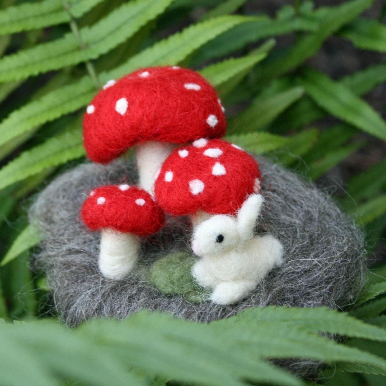 Needle Felted Mushroom Forest Scene