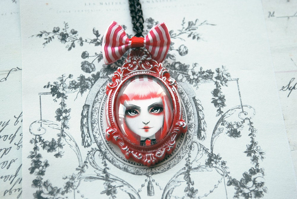 Haunted Carnival - Digital art print cameo necklace