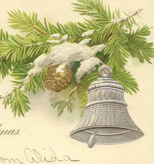 Silver Christmas Bell and Pinecone on Snow Covered Branch - Vintage Christmas Postcard 1905 New Paltz cancel on UDB