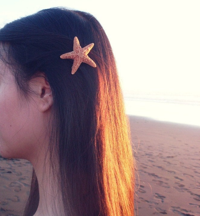15% OFF Sale - Natural Sugar Starfish Barrette Clip - Small - Romantic Whimsical Dreamy Sea Star for Your Hair - Mermaid Collection