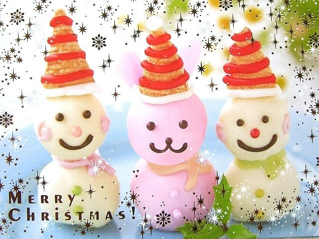 Cute Japanese Postcard-Smiling Chocolate Snowman and Rabbit With Santa Hat