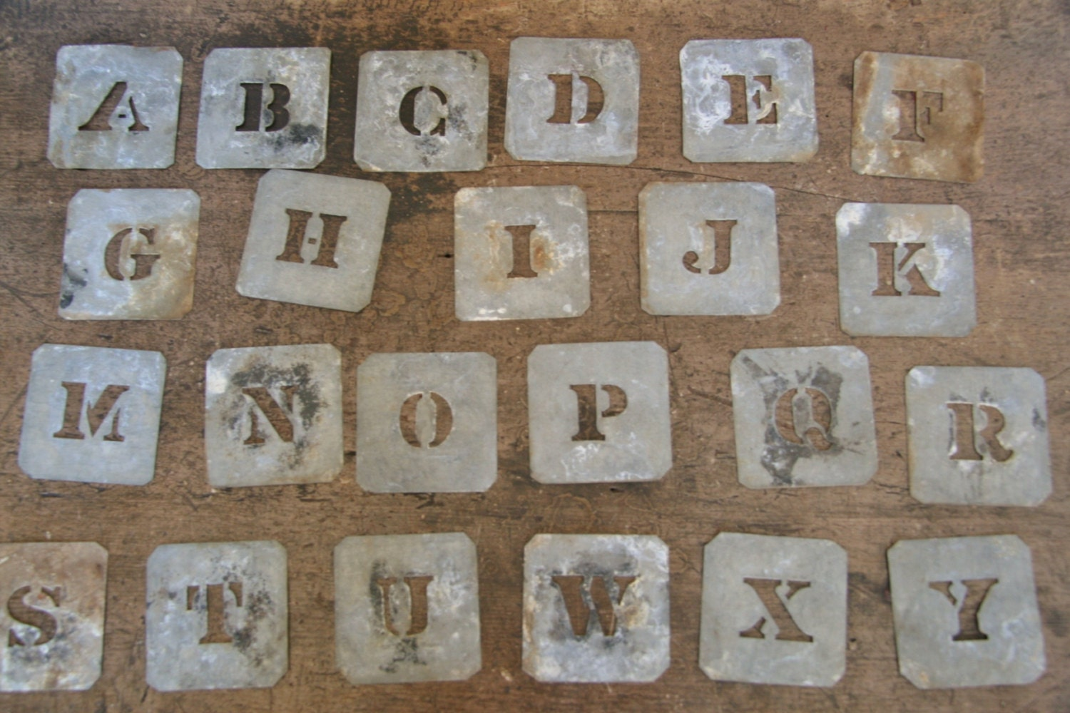 Vintage Metal Letter Stencils Wool Bale Zinc Alphabet Markers Rustic Industrial Decor Art Craft Monogram Price For ONE - FoundByHer