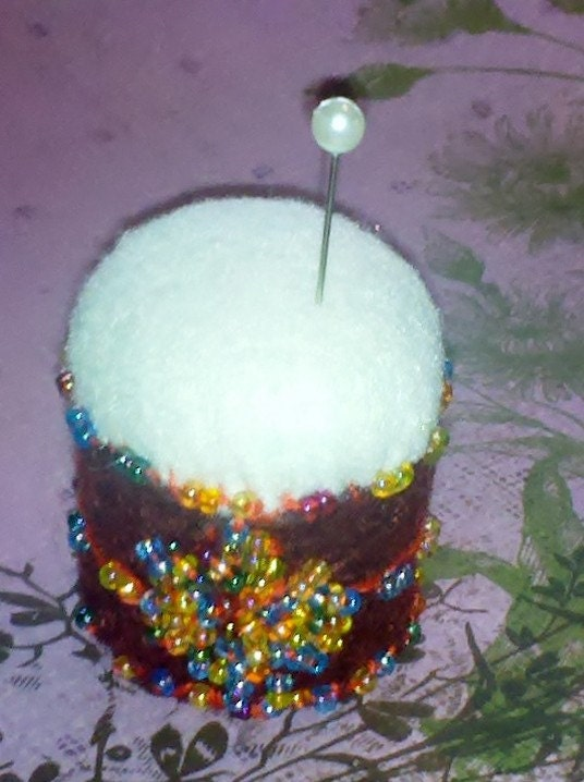 Mini Snow Cone Pin Cushion Beaded Hand Felted