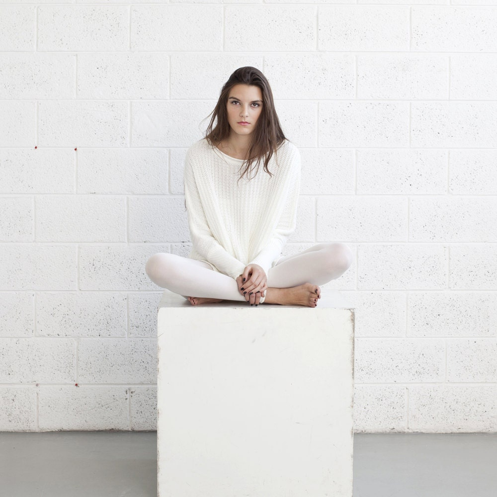 Winter fashion ,White Braided sweater,White sweater - naftul