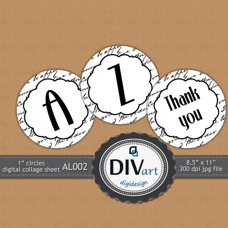 """PRINTABLE Alphabet Digital Collage Sheet - AL002 - 1"""" circles - gift tags, magnets, pendants, stickers, scrapbooking..."""