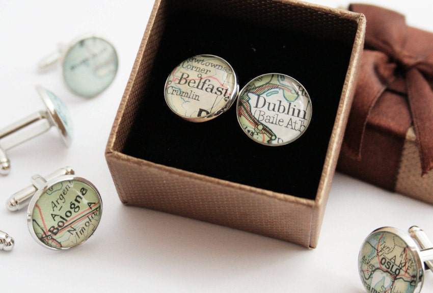 Custom Cuff links 6 SETS Groomsmen gifts Customized map cufflink Personalized destination weddings mens accessories chose your location
