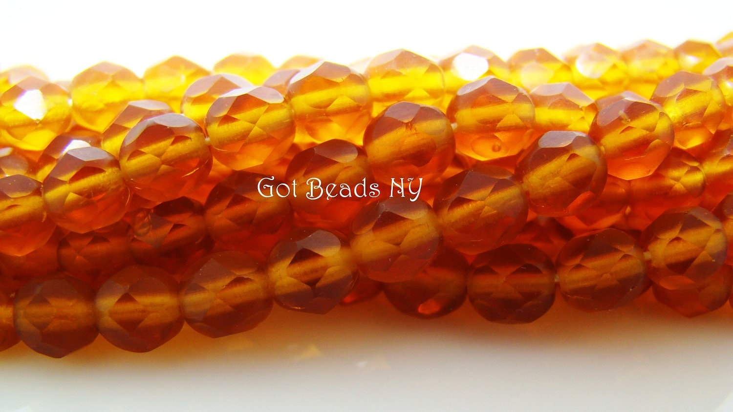 Fire polished beads, 6mm Matte smoky topaz Czech fire polished crystals.  1 - 6inch strand (25 pieces), Glass beads - GotBeadsNY
